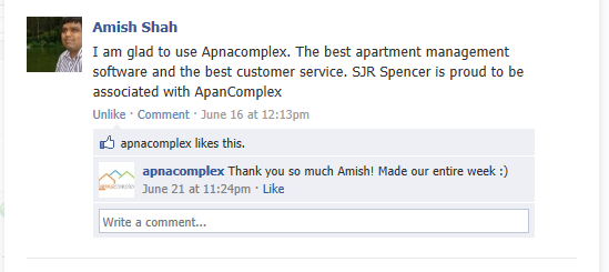 I am glad to use ApnaComplex. The best apartment management software and the best customer service. SJR Spencer is proud to be associated with ApnaComplex. - Amish Shah